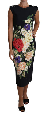 Floral Print Viscose Midi Gown Buttons Dress - Women - Apparel - Dresses - Casual - Dolce & Gabbana | Gethuda Fashion