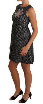 Dolce & Gabbana Gray Houndstooth Floral Appliqué Shift Mini Dress - Women - Apparel - Dresses - Casual - Dolce & Gabbana | Gethuda Fashion