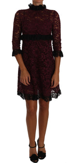 Dolce & Gabbana Black Floral Lace Burgundy Gown Mock Collar Dress