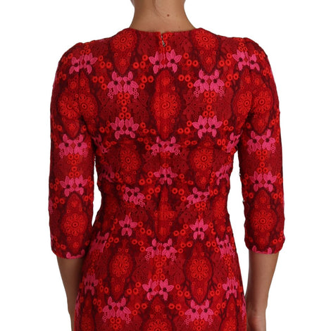 Dolce & Gabbana Floral Crochet Lace Red Pink Sheath Dress