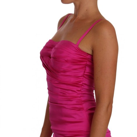 Dolce & Gabbana Pink Corset Mermaid Bustier Ruched dress