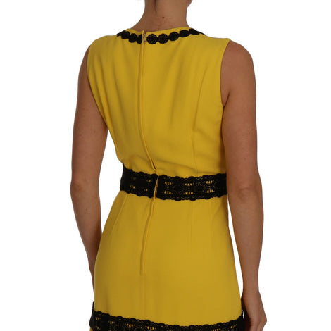 Dolce & Gabbana Yellow Dress Floral Lace Fringes Sheath dress