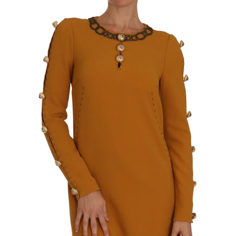 Dolce & Gabbana Brown Mini  Crystal Embellished Dress - Women - Apparel - Dresses - Casual - Dolce & Gabbana | Gethuda Fashion