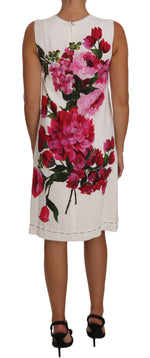 Dolce & Gabbana Pink White Peony Print A-Line Shift Gown Dress