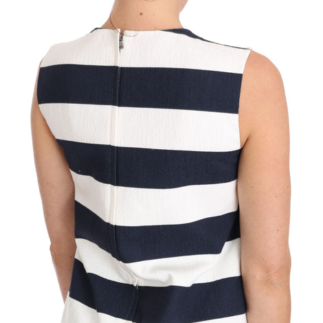 Dolce & Gabbana Blue White Striped Cotton Stretch Dress - Women - Apparel - Dresses - Casual - Dolce & Gabbana | Gethuda Fashion