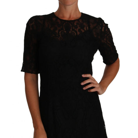 Dolce & Gabbana Black Floral Lace Sheath Short Sleeves Dress - Women - Apparel - Dresses - Casual - Dolce & Gabbana | Gethuda Fashion