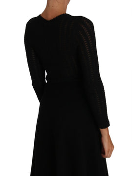 Dolce & Gabbana Black Knitted Wool Sheath Long Sleeves Dress