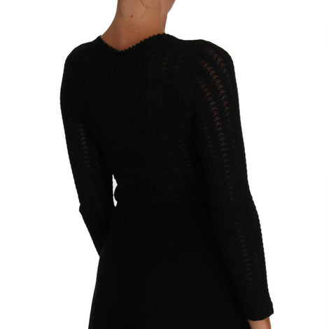 Dolce & Gabbana Black Knitted Wool Sheath Long Sleeves Dress - Women - Shoes - Wedges Espadrilles - Dolce & Gabbana | Gethuda Fashion