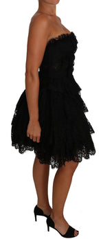 Dolce & Gabbana Black Floral Lace Ball Mini Ruffle Dress - Women - Apparel - Dresses - Casual - Dolce & Gabbana | Gethuda Fashion