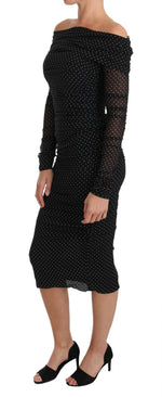 Dolce & Gabbana Black Polka Crystal Silk Stretch dress - Women - Apparel - Dresses - Casual - Dolce & Gabbana | Gethuda Fashion
