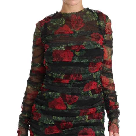 Dolce & Gabbana Black Red Roses Sheath Bodycon Dress - Women - Apparel - Dresses - Casual - Dolce & Gabbana | Gethuda Fashion