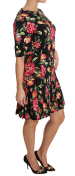 Dolce & Gabbana Black with multicolor Crystal Roses A-Line Shift Dress - Women - Apparel - Dresses - Casual - Dolce & Gabbana | Gethuda Fashion