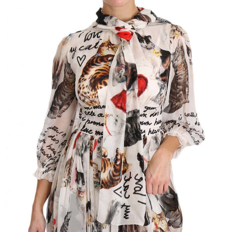 Dolce & Gabbana Bengal Cat White Silk Shift A-Line Dress - Women - Apparel - Dresses - Casual - Dolce & Gabbana | Gethuda Fashion