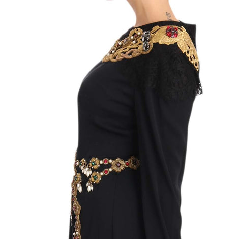 Dolce & Gabbana Black Silk Stretch Gold Crystal Dress