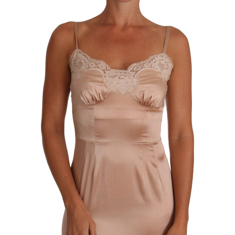 Beige Silk Lace Lingerie Chemise Dress - Women - Apparel - Lingerie And Sleepwear - Underwear - Dolce & Gabbana | Gethuda Fashion