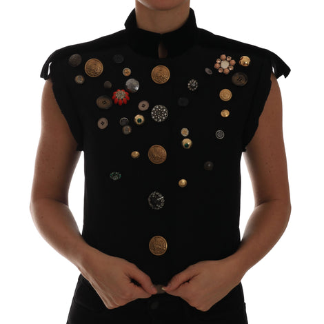 Dolce & Gabbana Black Embellished Floral Military Jacket Vest - Women - Apparel - Outerwear - Jackets - Dolce & Gabbana | Gethuda Fashion