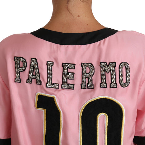 Dolce & Gabbana Pink Silk Crystal PALERMO Top T-shirt - Women - Apparel - Shirts - T Shirts - Dolce & Gabbana | Gethuda Fashion