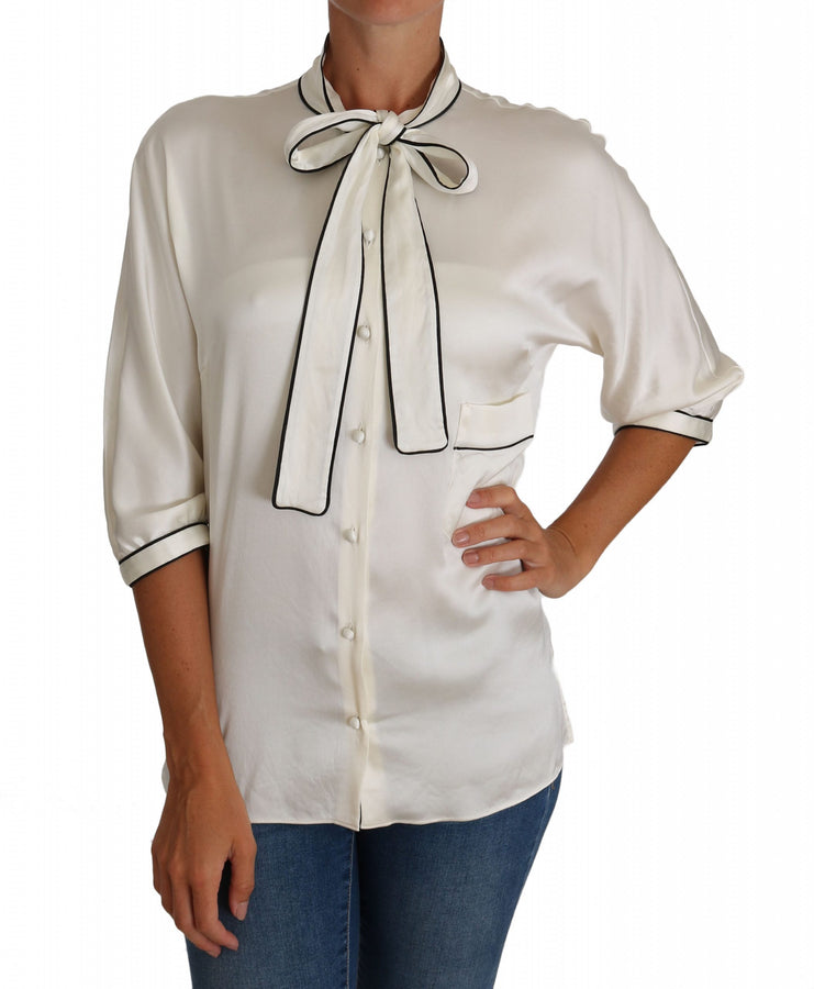 Dolce & Gabbana White Silk Pussy Bow Blouse Shirt - Women - Apparel - Shirts - Blouses - Dolce & Gabbana | Gethuda Fashion