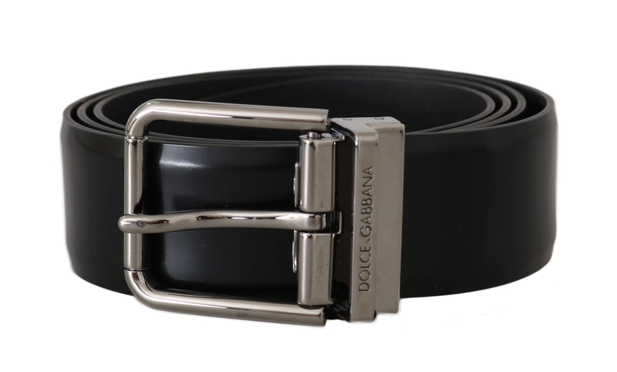 Dolce & Gabbana Black Leather Logo Silver Buckle Belt - Men - Accessories - Belts - Dolce & Gabbana | Gethuda Fashion