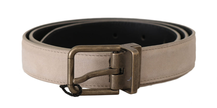 Dolce & Gabbana Beige Suede Leather Gold Brushed Buckle Belt - Men - Accessories - Belts - Dolce & Gabbana | Gethuda Fashion