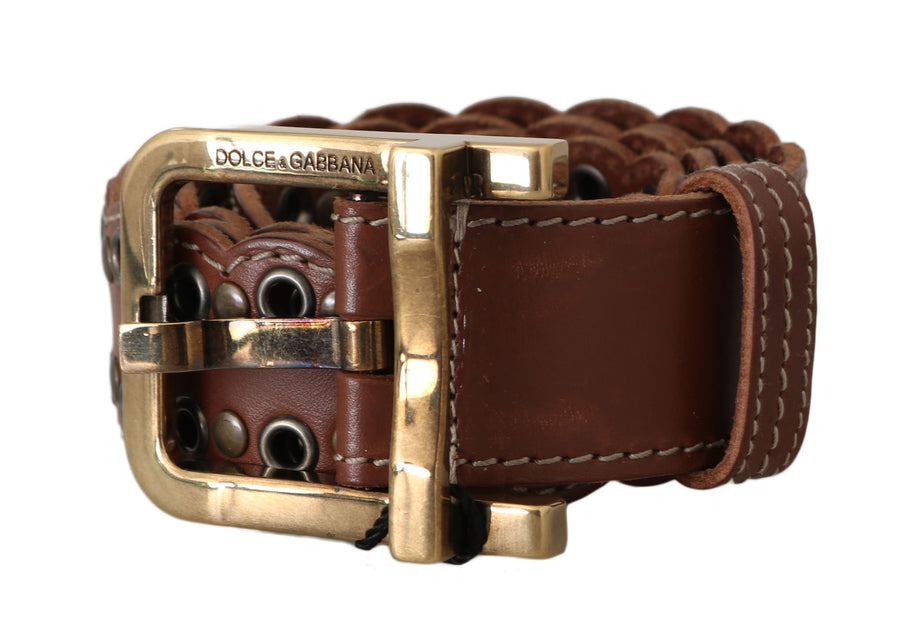 Dolce & Gabbana Brown Leather Studded Gold Buckle Belt - Men - Accessories - Belts - Dolce & Gabbana | Gethuda Fashion
