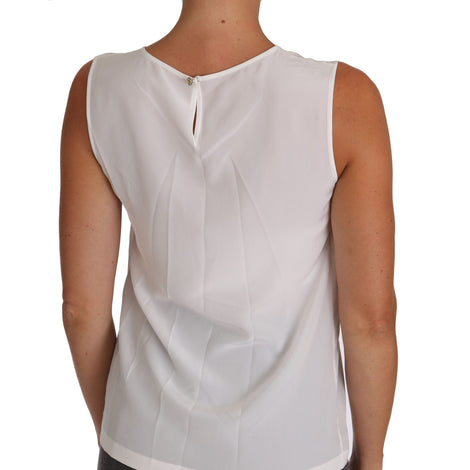 Dolce & Gabbana White Silk A-line Sleeveless Blouse T-Shirt Top - Women - Apparel - Shirts - T Shirts - Dolce & Gabbana | Gethuda Fashion