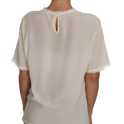 Dolce & Gabbana White Cream Silk Lace Top Blouse T-Shirt - Women - Apparel - Shirts - T Shirts - Dolce & Gabbana | Gethuda Fashion