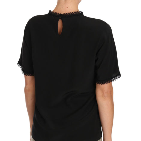 Dolce & Gabbana Black Silk Lace Top Blouse T-Shirt - Women - Apparel - Shirts - T Shirts - Dolce & Gabbana | Gethuda Fashion