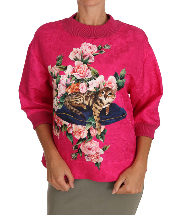 Dolce & Gabbana Pink Bengal Cat Roses Brocade Sweater - Women - Apparel - Sweaters - Pull Over - Dolce & Gabbana | Gethuda Fashion