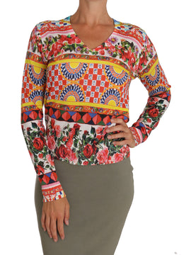 Dolce & Gabbana Multicolor Carretto V-neck Top