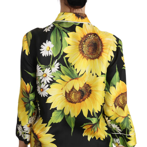 Dolce & Gabbana Silk Black Yellow Sunflower Floral Shirt - Women - Apparel - Shirts - Dress Shirts - Dolce & Gabbana | Gethuda Fashion