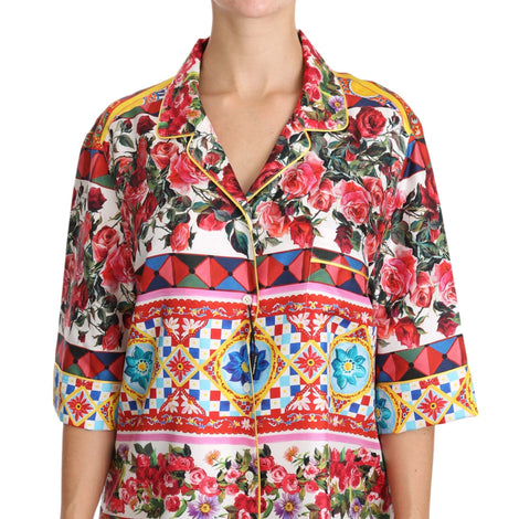 Dolce & Gabbana Carretto Rose Print Short Sleeve Top Blouse