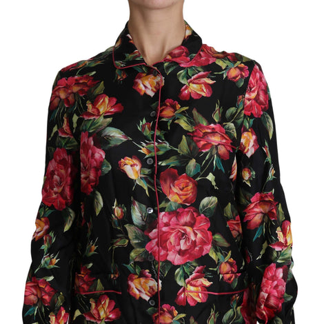 Dolce & Gabbana Black Rose Longsleeve Silk Floral Print Top - Women - Apparel - Shirts - Dress Shirts - Dolce & Gabbana | Gethuda Fashion