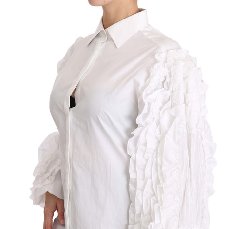 Dolce & Gabbana White Ruffled Long Sleeves Top Shirt - Women - Apparel - Shirts - Dress Shirts - Dolce & Gabbana | Gethuda Fashion