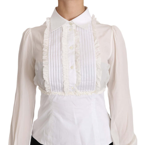Dolce & Gabbana White Silk Ruffle Shirt Top Longsleeved Shirt - Women - Apparel - Shirts - Dress Shirts - Dolce & Gabbana | Gethuda Fashion