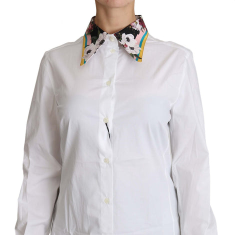 Dolce & Gabbana White Floral Collar White Cotton Top Shirt - Women - Apparel - Shirts - Dress Shirts - Dolce & Gabbana | Gethuda Fashion