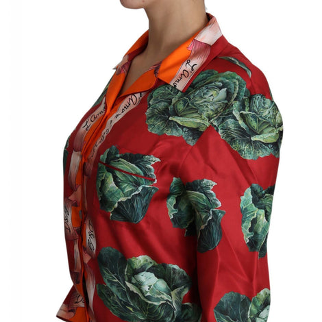 Dolce & Gabbana Cabbage Print Shirt Blouse Floral Silk Top Shirt - Women - Apparel - Shirts - Dress Shirts - Dolce & Gabbana | Gethuda Fashion
