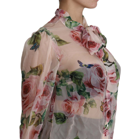 Dolce & Gabbana Pussybow Blouse Floral Silk Long Sleeves Top