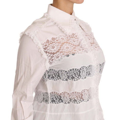 Costume National White Frill Lace Inset Poplin Tops Blouse Shirt