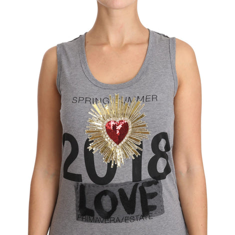 Dolce & Gabbana Gray Tank Top Crystal Sequined Heart  T-shirt - Women - Apparel - Shirts - T Shirts - Dolce & Gabbana | Gethuda Fashion