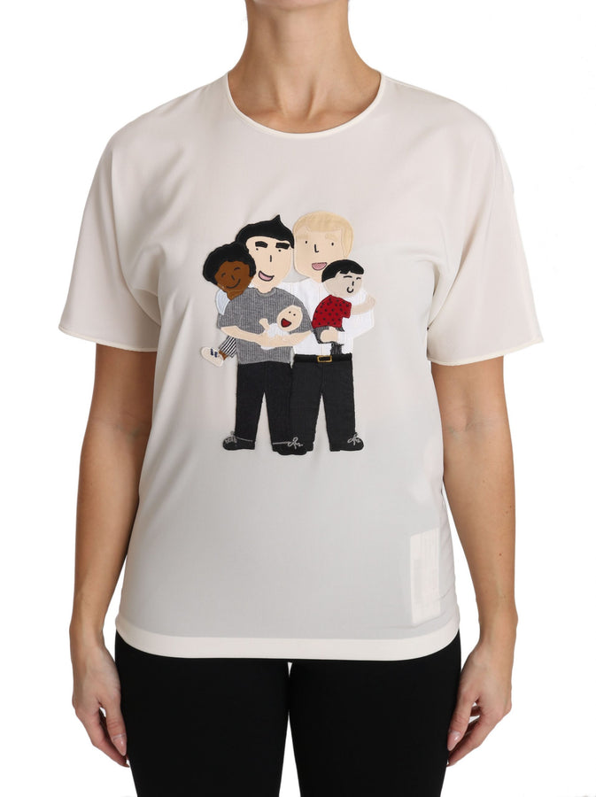Dolce & Gabbana White Silk Stretch #dgfamily T-shirt