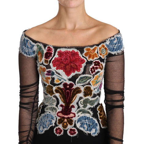 Dolce & Gabbana Black Floral Ricamo Top T-shirt Blouse - Women - Apparel - Shirts - T Shirts - Dolce & Gabbana | Gethuda Fashion