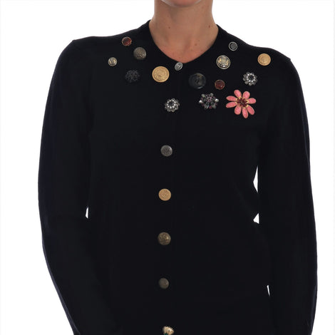 Dolce & Gabbana Black Cashmere Cardigan Crystal Sweater - Women - Apparel - Sweaters - Pull Over - Dolce & Gabbana | Gethuda Fashion