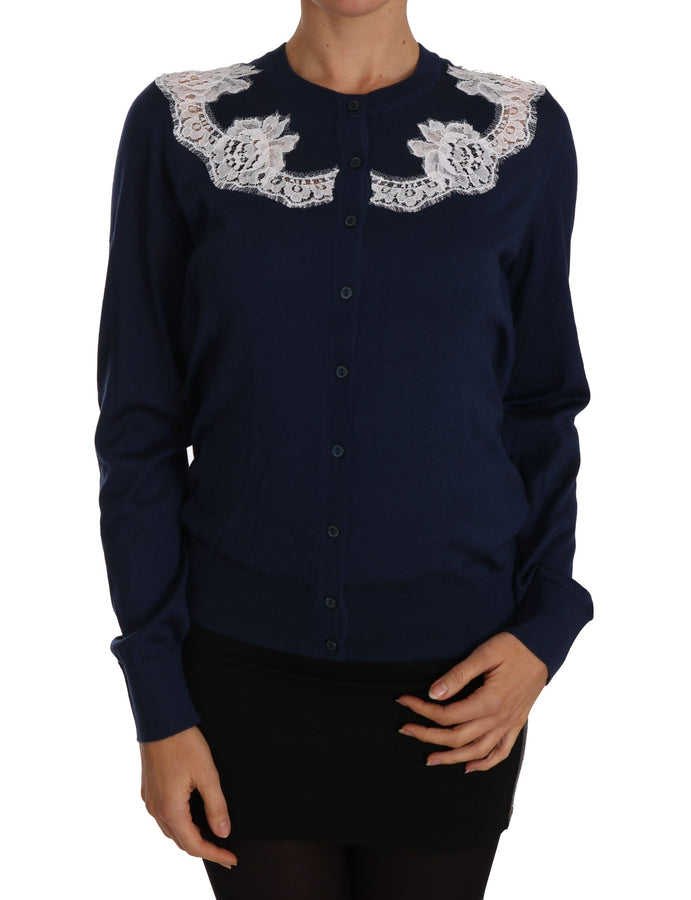 Dolce & Gabbana Blue Cardigan Cashmere Lace Button Up Sweater