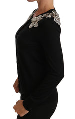 Dolce & Gabbana Black Crystal Embellished Shoulders Sweater - Women - Apparel - Sweaters - Pull Over - Dolce & Gabbana | Gethuda Fashion