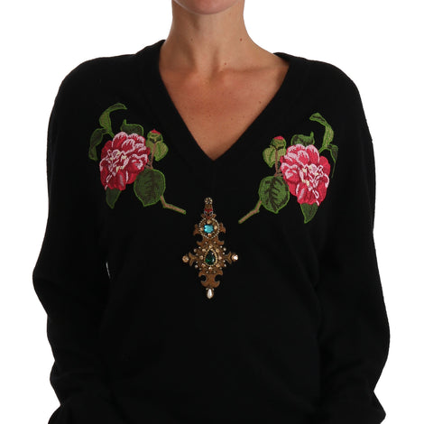 Dolce & Gabbana Black Rose Floral Crystal Cashmere Sweater - Women - Apparel - Sweaters - Pull Over - Dolce & Gabbana | Gethuda Fashion
