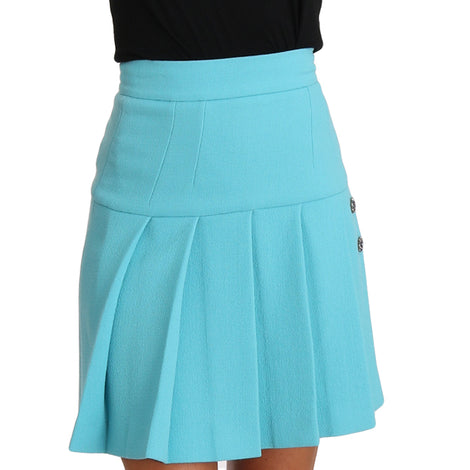 Dolce & Gabbana Light Blue Crystal Wool A-line Pleated Skirt - Women - Apparel - Skirts - Dolce & Gabbana | Gethuda Fashion