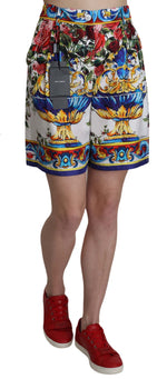 Dolce & Gabbana Multicolor Print Silk City Majolica Shorts - Women - Apparel - Shorts - Casual - Dolce & Gabbana | Gethuda Fashion