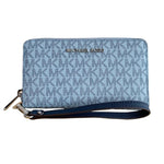 Michael Kors Jet Set MK printed Pale Blue Navy Large Wristlet - Women - Bags - Clutches Evening - Michael Kors | Gethuda Fashion
