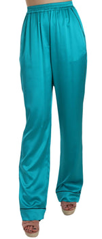 Dolce & Gabbana Aqua Blue Silk Stretch Trousers Pyjama Pants